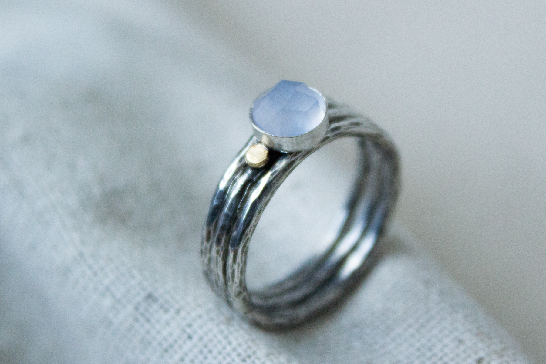light blue handmade stacking ring