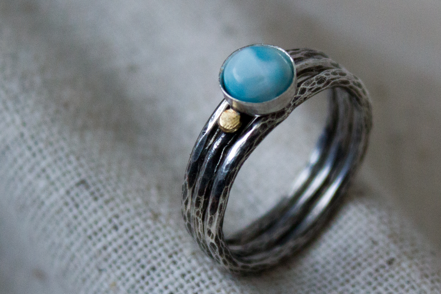 Larimar handmade stacking ring