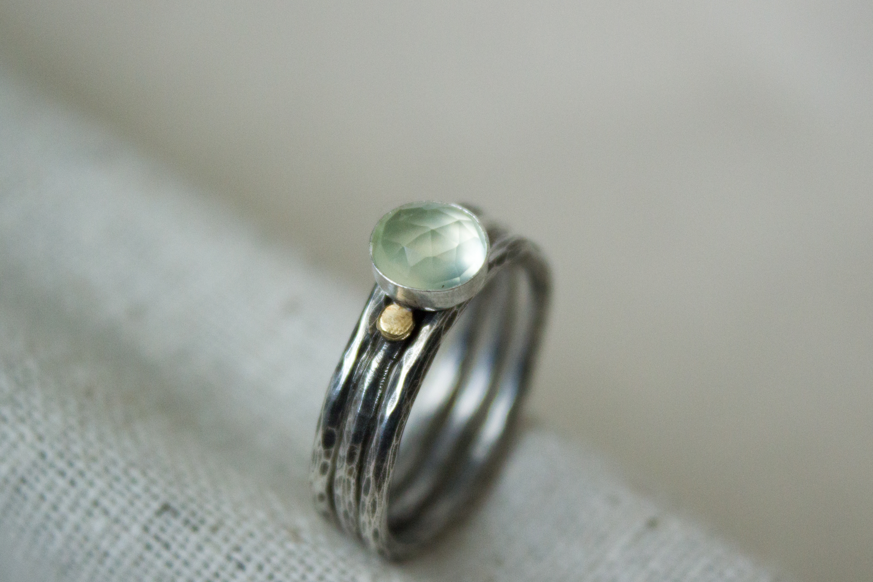 Prehnite handmade stacking rings - Abella Blue