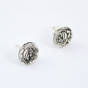 Silver rose stud earrings - Abella Blue