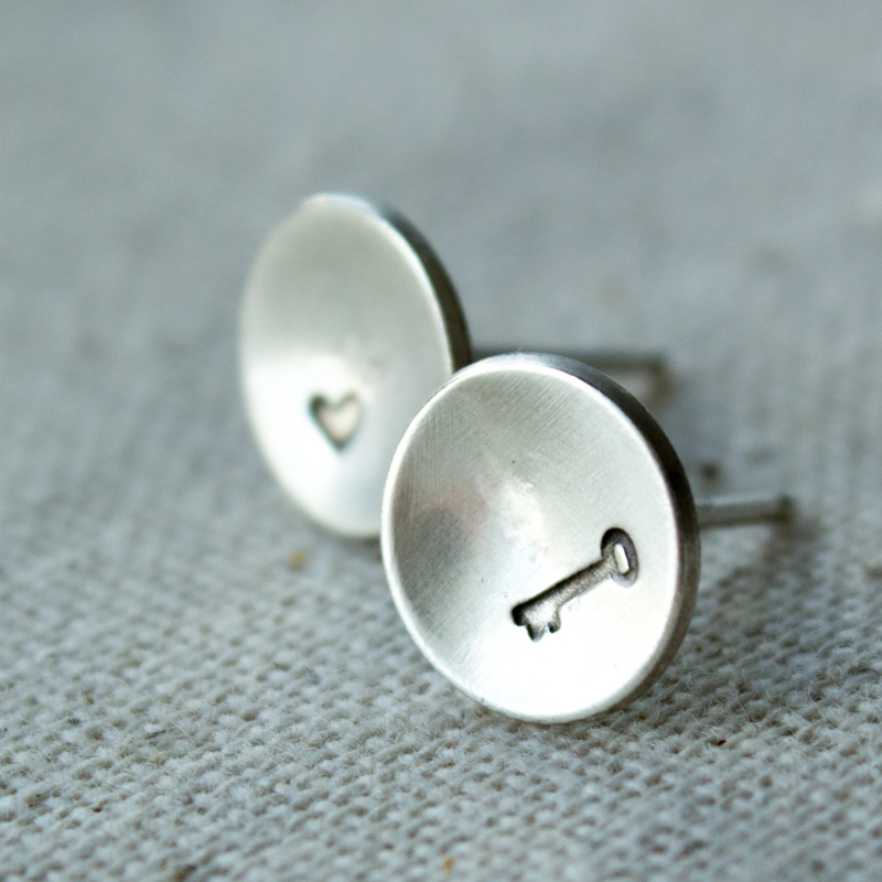 key and heart silver post earrings