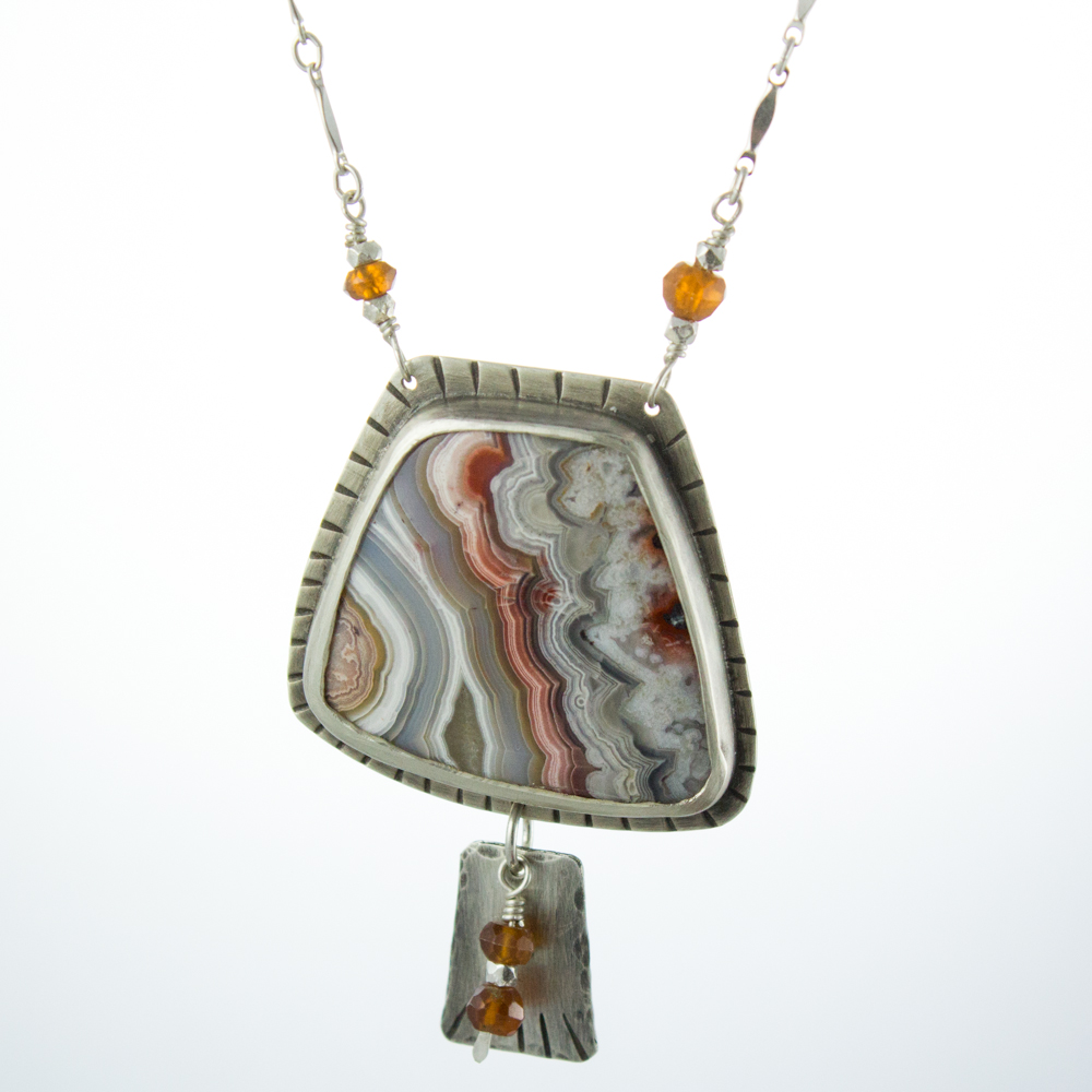 crazy lace agate tribal necklace