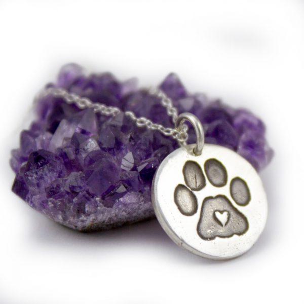 Handmade Paw Print Dog Necklace