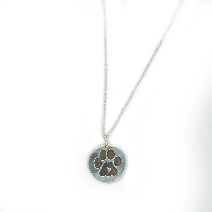 on jewellery engraved print pawprint paw necklace hand heart