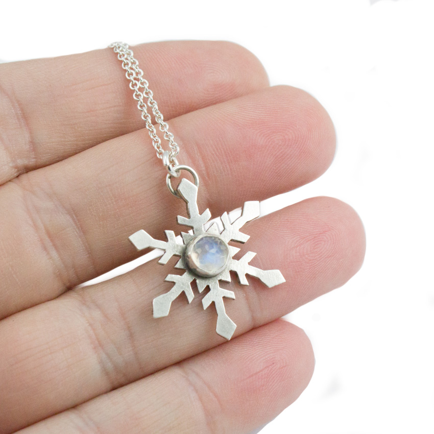 hanmdade snowflake necklace with moonstone