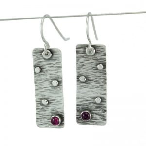 Textured pink tourmaline earrings