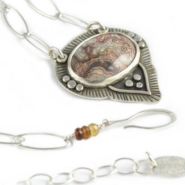 Artisan Silver Crazy Lace Agate Necklace