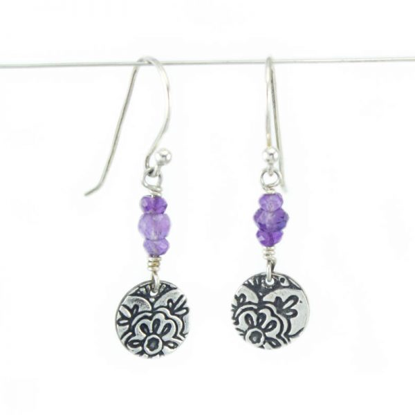 gemstone lotus flower earrings