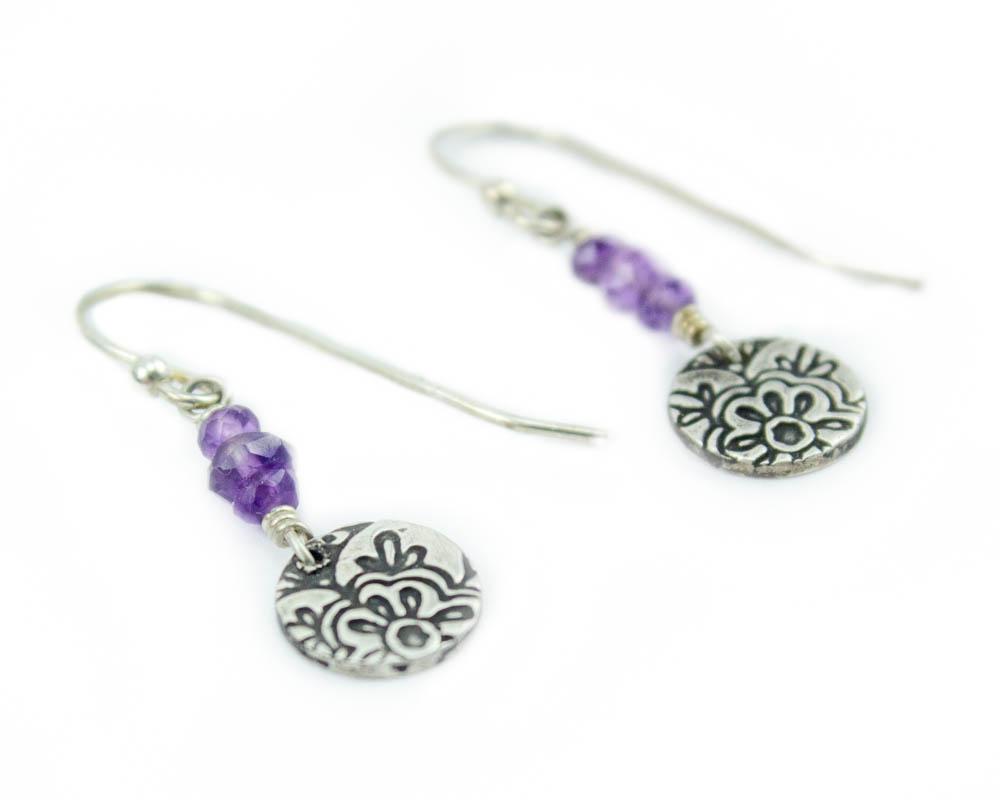 Lotus dangle earrings with amethyst