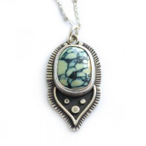 turquoise lotus petal necklace