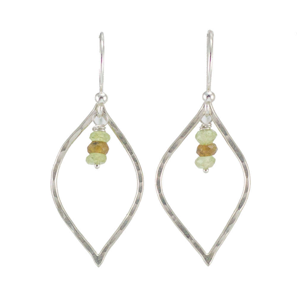 handmade silver petal earrings green garnet