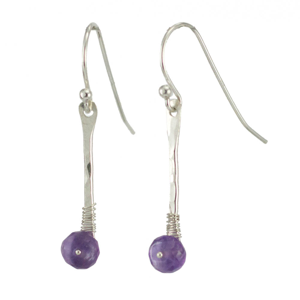 Amethyst gemstone Stick Earrings