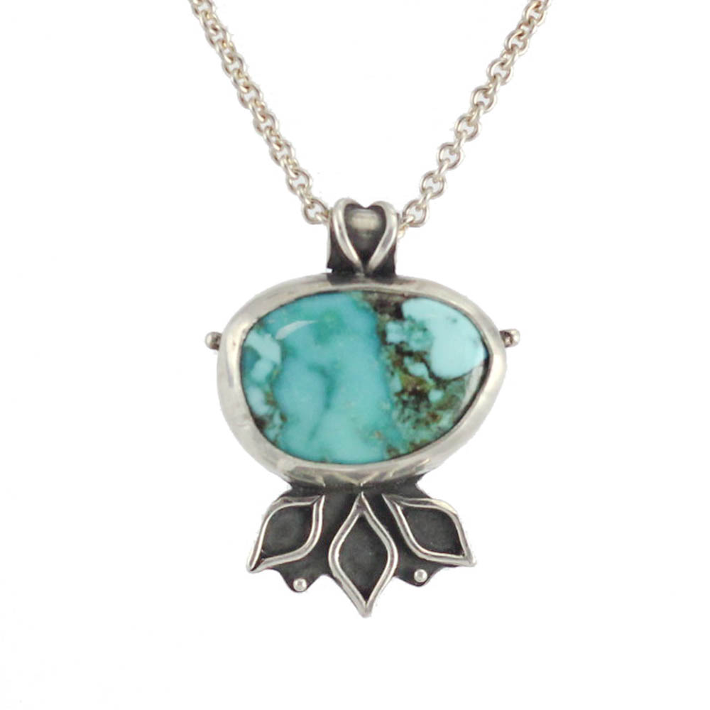 Turquoise Lotus Flower Prosperity Necklace Abella Blue